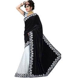 Buy Black embroidered velvet saree velvet-saree online