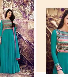 Buy Green embroidered georgette salwar with dupatta multicolor-salwar-kameez online