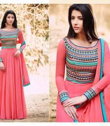 Buy Pink embroidered georgette salwar with dupatta multicolor-salwar-kameez online