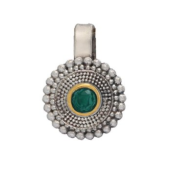 Evergreen Collection Of Gold & Silver Oxidised Green Color Flower Shape Nose Pin For Girls & Women