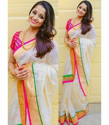 Buy White printed silk saree with blouse kerala-saree online