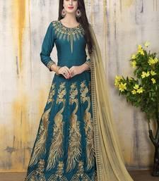 Buy Green zari bangalore silk salwar with dupatta anarkali-salwar-kameez online