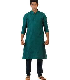 Buy Amora Designer Ethnic Turquoise Solid Blended Khadi Fabric Straight Kurta For Men kurta-pajama online
