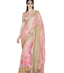 Buy Pink embroidered Georgette saree with blouse Woman online