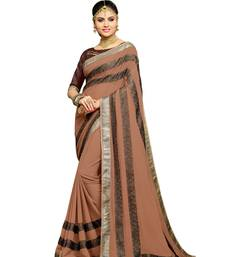 Buy Brown embroidered faux georgette saree with blouse diwali-sarees-collection online