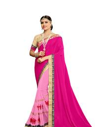 Buy Pink embroidered faux georgette saree with blouse diwali-sarees-collection online