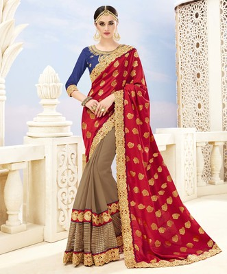 Maroon embroidered banarasi silk saree with blouse