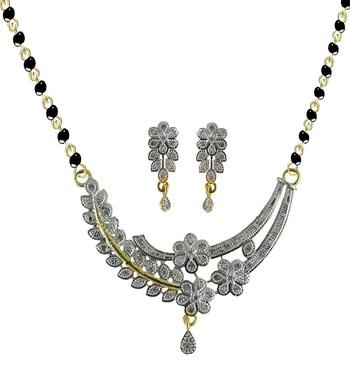 American Diamond Mangalsutra Pendant Set For Daily Wear