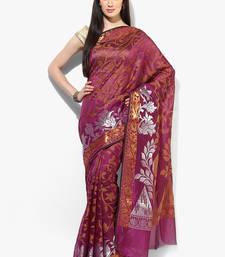 Buy Magenta woven banarasi saree with blouse banarasi-saree online