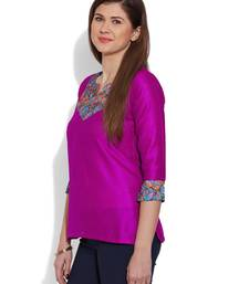 Buy Pink plain dupion_silk stitched kurti short-kurtis online