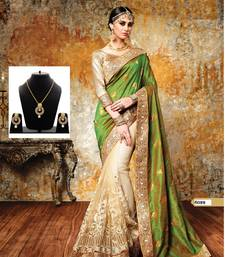 Buy Green embroidered georgette saree with blouse & free gift black-friday-deal-sale online