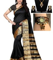 Buy Black hand woven art silk saree with blouse & free gift lehenga-saree online