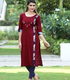 Buy New Marron Designer Printed Casual Kurti cotton-kurti online