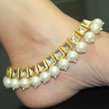 Designer Kundan Anklets with Pearls