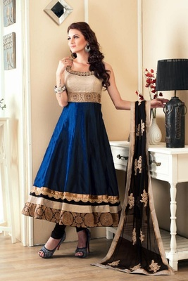 Dark blue embroidered satin salwar with dupatta