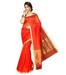 Buy Orange plain cotton silk saree  Saree online
