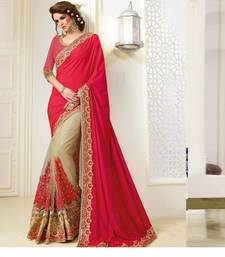 Buy Blood red embroidered nylon saree with blouse heavy-work-saree online