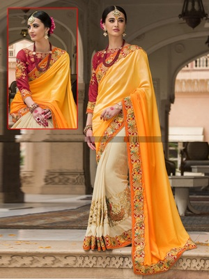 Yellow embroidered jacquard saree with blouse