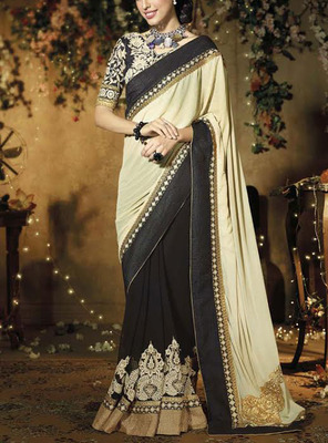 CHIKU BLACK  GEORGETTE EMBROIDERED DESIGNER SAREE WIRH BLOUSE