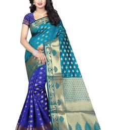 Buy Multicolor printed banarasi silk saree with blouse banarasi-saree online
