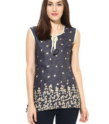 Buy Grey printed Rayon stitched kurti short-kurtis online