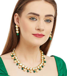 Buy Kundan String Necklace set with green onyx and pearls necklace-set online