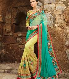 Buy Blue embroidered net saree with blouse great-indian-saree-festival online