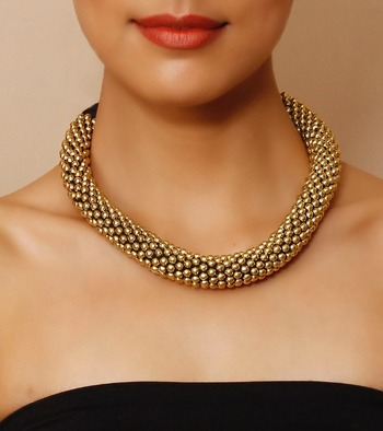 Gold Dots Traditional Choker Necklace