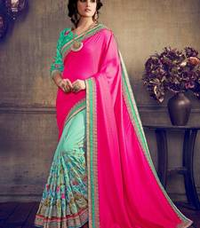 Buy Hot pink embroidered art silk saree with blouse designer-embroidered-saree online