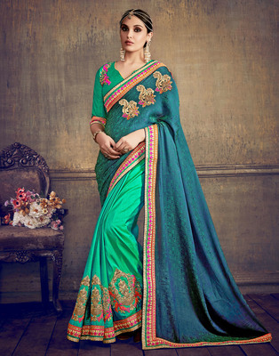 Teal embroidered jacquard saree with blouse