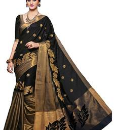 Buy Black printed cotton silk saree with blouse black-friday-deal-sale online