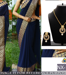 Buy Blue embroidered georgette saree with blouse & free gift one-minute-saree online