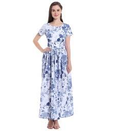 Buy White printed Poly Crepe dresses ganpati-dress online