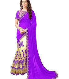 Buy dark purple embroidered faux georgette saree with blouse Woman online