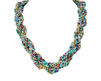 Green Multicolor Beads Necklace