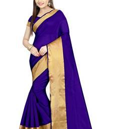 Buy Blue plain dupion silk saree with blouse dupion-saree online