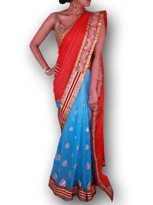 Bright Red and Sky Blue Half and Half Saree in Silk and Georgette  - Sweta Sutariya