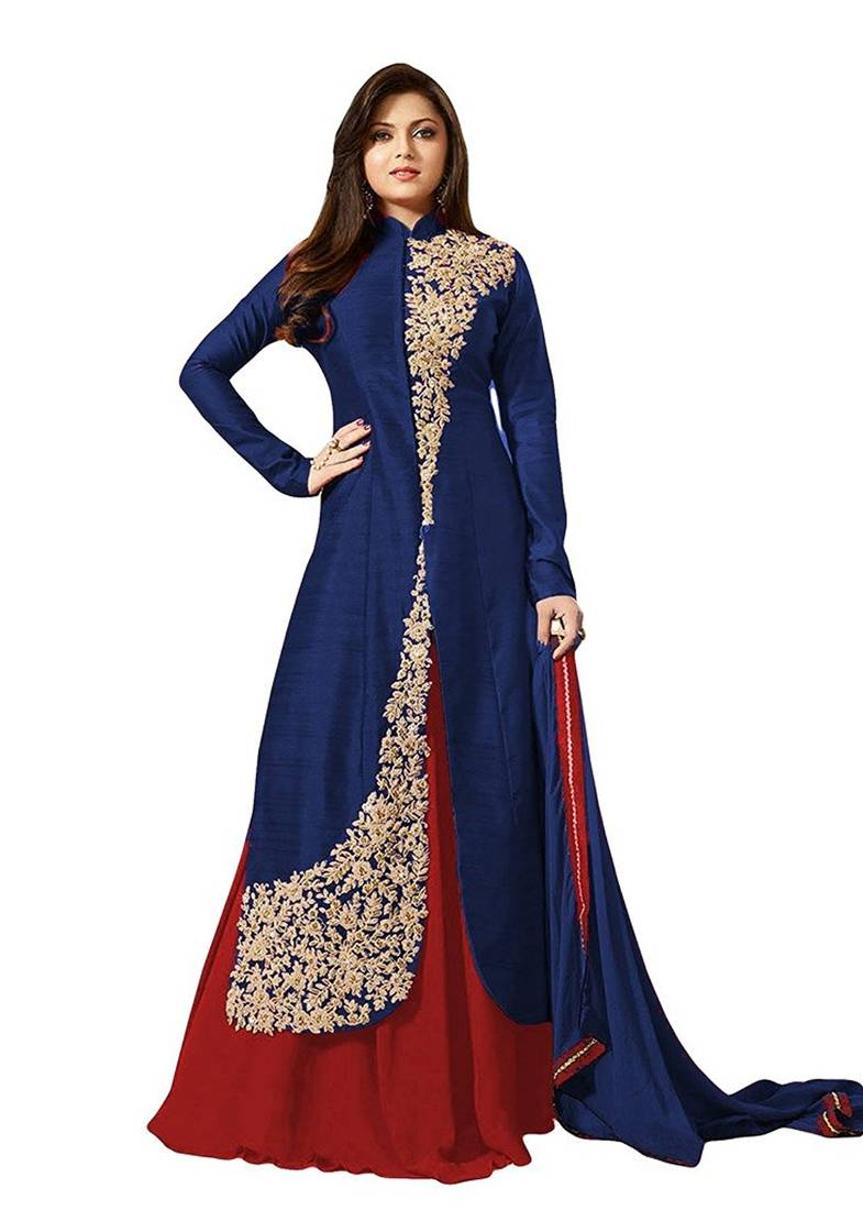 Buy Navy Blue Embroidered Dupion Silk Salwar With Dupatta