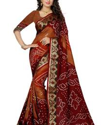 Buy Maroon and choklet printed art silk saree with blouse fancy-saree online