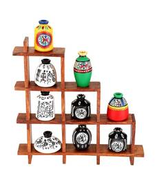Buy Ladder Stand with 9 Warli pots housewarming-gift online