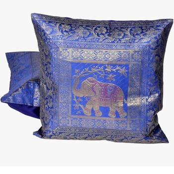 Blue Jacquard Fine Silk Cushion Cover 2Pc. Set