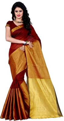 maroon printed tussar silk, cotton linen blend saree with blouse