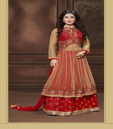 Buy Maroon embroidered net salwar with dupatta ethnic-suit online