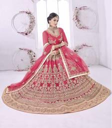 Buy Pink embroidered net unstitched lehenga with dupatta lehenga-choli online