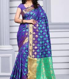 Buy Violet woven silk saree with blouse art-silk-saree online