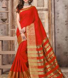 Buy Red woven silk saree with blouse below-1500 online