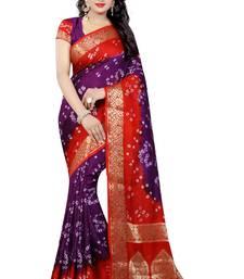 Buy Blue hand woven art silk saree with blouse bandhani-sarees-bandhej online