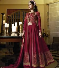 Buy Maroon embroidered georgette salwar with dupatta wedding-salwar-kameez online