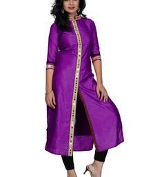 Buy Purple plain silk stitched kurtas-and-kurtis long-kurti online