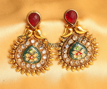 AWESOME ANTIQUE MEENAKARI RED-GREEN DESIGNER EARRINGS -DJ17075